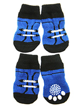 Soccer Pet Socks - These fun and functional doggie socks protect your dogs paws from mud, snow, ice, hot pavement, hot sand and other extreme weather. Made from 95% cotton and 5% spandex making them comfortable and secure. Each sock features a paw shaped anti-slip silica pad and help keep your house sanitary. (set of...