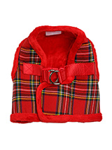 Luxury Fur Lined Red Tartan Harness - What can we say only that this harness is most definitely the height of luxury. It is soft warm and heavy with a double D-ring for extra security. It is lined with faux fur and finished around the neck and arms again with faux fur for a super comfortable fit and finish. A matching lead is available...