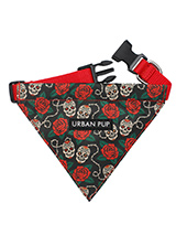 Skull & Roses Bandana - Lets get, lets get rocked with our tattoo inspired Skull and Roses Bandana. Just attach your lead to the D ring and this stylish Bandana can also be used as a collar. It is lightweight and incredibly strong. You can be sure that this stylish and practical Bandana will be admired from both near and a...