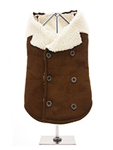 Brown Shearling Aviator Jacket - You will find it hard to resist our shearling aviator jacket. It is so soft, light and smooth to the touch but still incredibly warm. Fleece lined with a faux suede outer it really is a great coat for keeping you dog warm and snug. It's has a traditional double breasted finish with six buttons three...