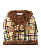 Luxury Fur Lined Brown Tartan Harness - What can we say only that this harness is most definitely the height of luxury. It is based on a traditional Scottish Highland design and it is soft warm and heavy with a double D-ring for extra security. It is lined with faux fur and finished around the neck and arms again with faux fur for a super...