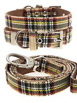 Brown Tartan Collar & Lead Set - Our Brown Checked Tartan Harness is a traditional Scottish Highland design which is stylish, classy and never goes out of fashion.It is lightweight and incredibly strong. The collar has been finished with chrome detailing including the eyelets and tip of the collar. A matching lead, harness and band...