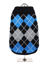 Black & Blue Argyle Sweater - Knitted Black sweater with a blue and grey diamond pattern. The Argyle pattern has seen a resurgence in popularity in the last few years due to its adoption by Stuart Stockdale in collections produced by luxury clothing manufacturer, Pringle of Scotland. The rich Scottish heritage will give your pup...