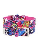 Pink Graffiti Fabric Collar - Our Pink Graffiti Collar is a street art inspired design. It is lightweight and incredibly strong. The collar has been finished with chrome detailing including the eyelets and tip of the collar. A matching lead, harness and bandana are available to purchase separately. You can be sure that this styl...